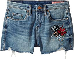 High-Rise Shorts w/ Embroidery in Blue (Big Kids)