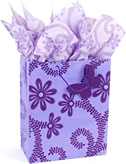 "Hallmark 13"" Large Gift Bag with Tissue Paper (Lavender Flowers) for Birthdays, Baby Showers, Weddings, Mothers Day and More"