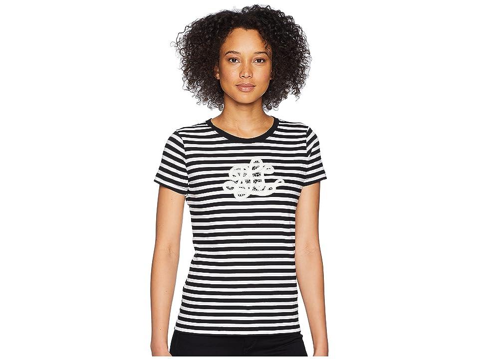 LAUREN Ralph Lauren Monogram Striped T-Shirt (Polo Black/Soft White) Women
