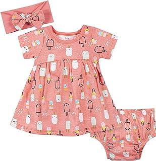 Baby Girls' 3-Piece Dress, Diaper Cover and Headband Set