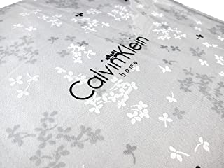 Calvin Klein Home Luxuries Bedding 4pc Queen Sheet Set Cotton Sateen Tiny Leaves Flowers Gray Black White Grey Floral Design