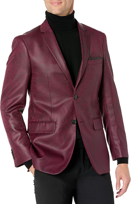 Kitonet Men's Slim Fit Faux Leather Blazer