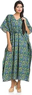 Women Caftan Kaftan Maxi Dress Paisley Indian Hippie Beach Gown Plus Size Boho Green