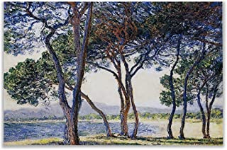 Monet Wall Art Collection Trees by The Seashore at Antibes, 1888 by Claude Monet Canvas Prints Wrapped Gallery Wall Art | Stretched and Framed Ready to Hang 24X32,