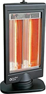 Comfort Zone CZHTV9 Oscillating Electric Halogen Radiant Heater with Slimline Flat Panel Design, Black