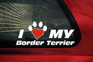 Ik hou van mijn Border Terrier, hond poot vormige hart vinyl sticker
