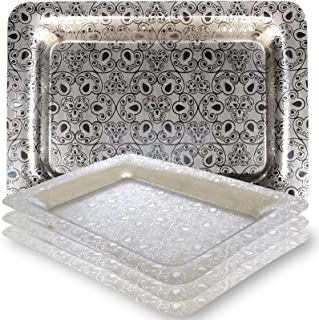Maro Megastore (Pack of 4 13.2-Inch x 9.2-Inch Rectangular Oblong Sturdy 304 Stainless Steel Serving Tray Victoria Design Floral Engraved Wedding Birthday Buffet Party Food Platter 2291 S Ts-030