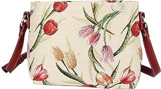 Signare Womens Tapestry Fashion Shoulder Handbag Across Body Messenger Bag Floral Tulip Design