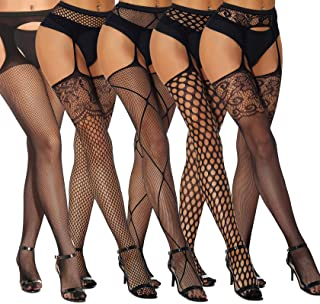 Womens 5 Pairs Suspender Pantyhose Sexy Fishnet Stocking Lingerie Thigh High Tights Garter Belt