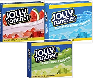Jolly Rancher Gelatin Variety Bundle, 2.79 oz (Pack of 6) includes 2-boxes Watermelon + 2-boxes Blue Raspberry + 2-Boxes Green Apple