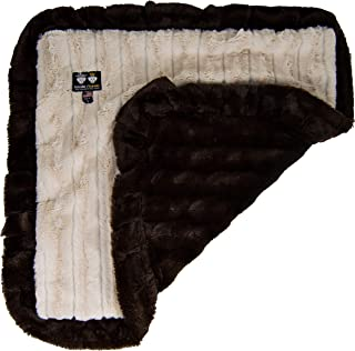 "product image for BESSIE AND BARNIE Natural Beauty/ Godiva Brown (Ruffles) Luxury Ultra Plush Faux Fur Pet, Dog, Cat, Puppy Super Soft Reversible Blanket (Multiple Sizes), XS - 20"" x 20"""