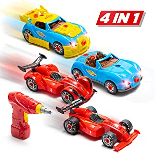 Prextex 4 in 1 Build Your Own Racer Car Set STEM take Apart Toy for Boys with Real Working Drill and Screws 53 Piece Take-A-Part Toy for Boys and Girls with Lights and Sounds
