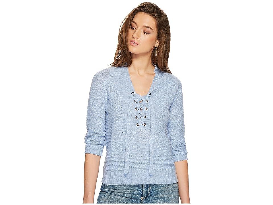 Lucky Brand Lace-Up Sweater (Misty Blue) Women