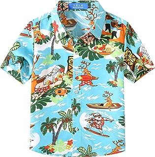 SSLR Big Boy's Christmas Santa Claus Casual Button Down Hawaiian Shirt
