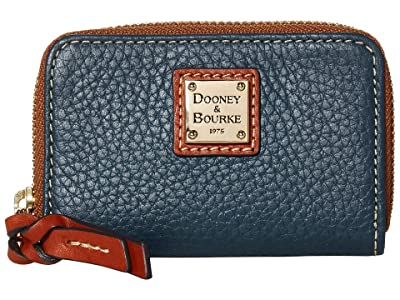 Dooney & Bourke Pebble Zip Around Credit Card Case (Teal/Tan Trim) Handbags