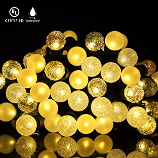 Christmas String Lights, 18Ft 70 LED Outdoor Lights, Extendable Plug in Glass Globe Lights, Waterproof for Indoor and Outdoor Use, UL588 Listed