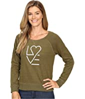 Life is Good - Love Heart Marled Terry Crew