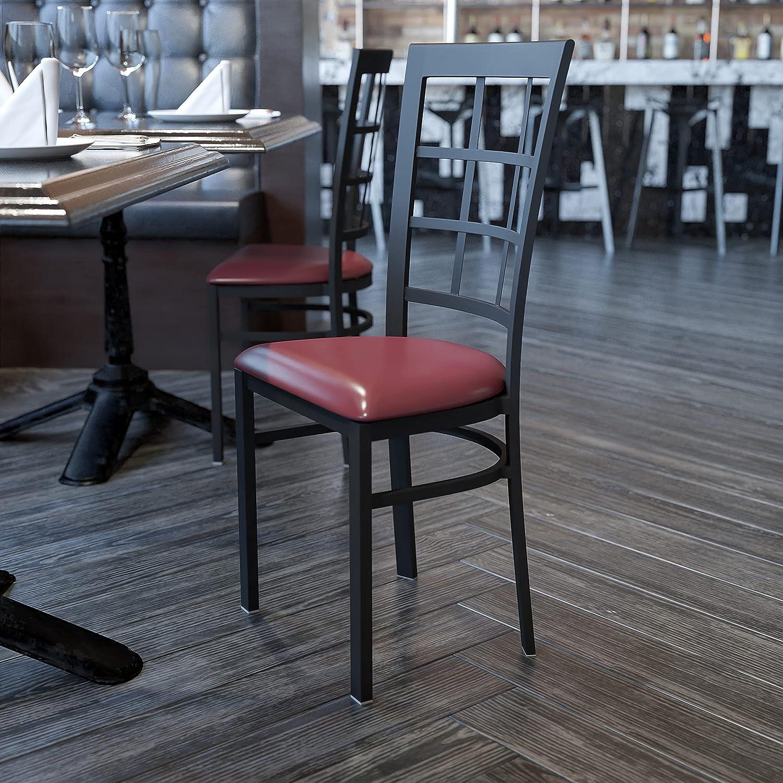 Flash Furniture HERCULES Series Black Window Back Metal Restaurant Chair - Burgundy Vinyl Seat
