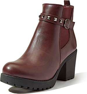 DailyShoes Chelsea Bootie Women's Elastic Panel Slip On Round Toe Buckle Strap Chunky Heel Ankle Boots