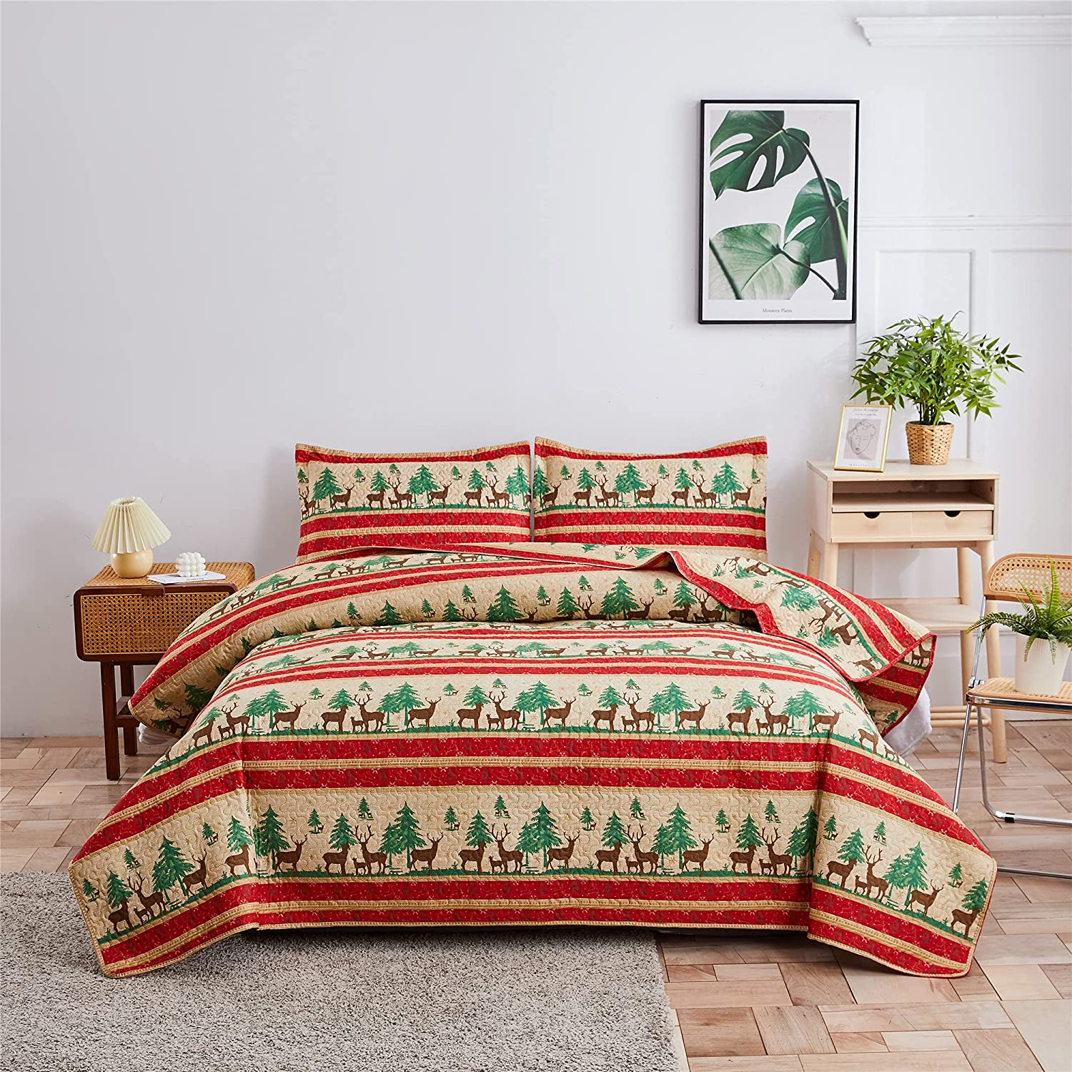 Lodge Bedspread Twin Size Quilt service with Milwaukee Mall Cabin Reve Shams. 3-Piece 2