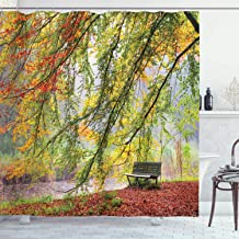 Ambesonne Farm House Decor Collection, Autumn View of A Bench under Bright Colored Fall Leaves Freshening Season Print, Polyester Fabric Bathroom Shower Curtain, 75 Inches Long, Green Orange