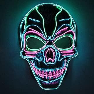 JOYIN Halloween Cosplay LED Mask Light Up Scary Skull/Clown Mask for Halloween Cosplay Costume Party