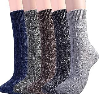 Jeasona Womens Wool Socks Warm Winter Vintage Knit Boot Crew Socks Gifts