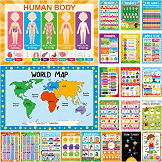 "22 Pcs 11"" x 17"" Educational Posters for Toddlers Kindergarten Homeschool Supplies Classroom Decorations Preschool Distanc..."