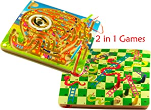 TOWO Wooden Snakes and Ladders and Elephant Magnetic Labyrinth 2 in 1 Board Game - Wooden Board Game and Labyrinth Puzzle Board for Children Wooden Toys for 3 Year olds Kids