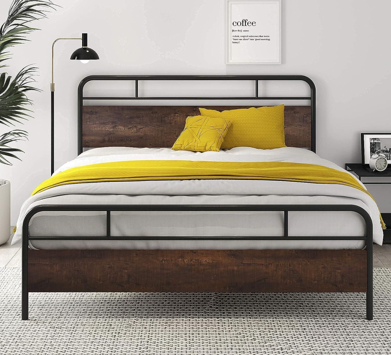 SHA High order CERLIN Year-end gift Heavy Duty Queen Bed Frames with Modern Headboar Wood