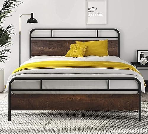 SHA CERLIN Queen Bed Frames with Modern Wood Headboard Heavy Duty
