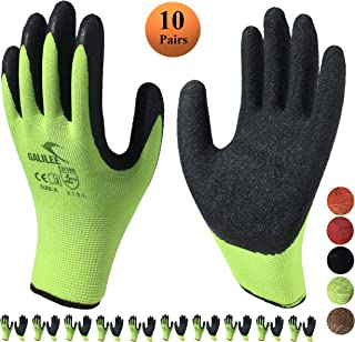 Nitrile Latex Rubber Coated Safety Work Gloves, Nylon Knit, Textured Palm Grip ( 10 Pair Pack, Green/Black, size large fits most )