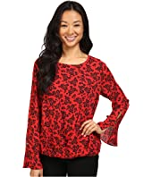 Vince Camuto - Long Sleeve Bouquet Stamp Fold-Over Blouse