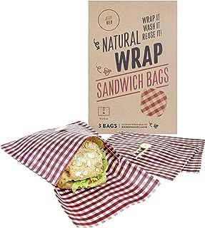 Media Chain Media Chain Natural Wrap Sandwich Tasche Rot – Wiederverwendbare Bienenwachstücher Tasche Brotbeutel Brottasche Ersetzt Alufolie Und Frischhaltefolie Nicht-Vegan