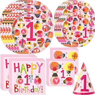 Unique Ladybug Baby Girl 1st Birthday Party Bundle | Beverage & Luncheon Napkins, Dinner & Dessert Plates | Great for Child's 1st Birthday Celebration, Kid's Party