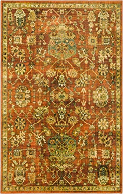 Mohawk Home Prismatic Stamford Traditional Distressed Floral Precision Printed Area Rug, 8'x10', Orange and Brown