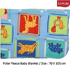 LuvLap Polar Fleece Baby Blanket, 70cm x 100cm, Sky Blue Animals