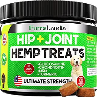 FurroLandia Hemp Hip & Joint Supplement for Dogs with...