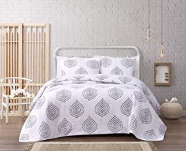 Cottage Classics Embroidered Ogee Quilt Set, Full/Queen, White/Navy