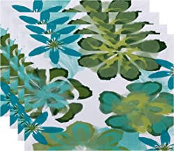 E by design ANI Floral Print Placemat, 18 x 14, Blue