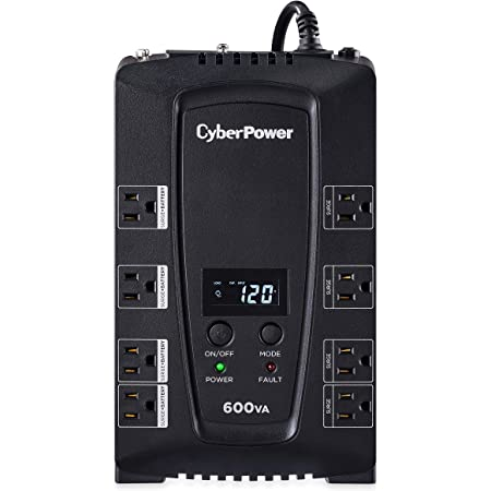 CyberPower CP600LCD Intelligent LCD UPS System, 600VA/340W, 8 Outlets, Compact, Black