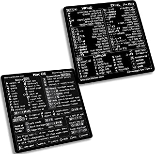 SYNERLOGIC Mac OS (M1+Intel) + Word/Excel (for Mac) Quick Reference Guide Keyboard Shortcut Stickers - for M1 or Intel Mac...