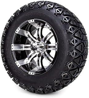 "12"" Tempest Machine Black Golf Cart Wheel & All Terrain Tire Combo Set of 4"