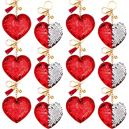 Backpacks Engagement Party Wedding Party Gifts Decorations Luggage Purses 24 Pieces Red Heart Plush Keychains Valentines Heart Shape Keyrings for Valentines Day