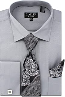 Allen Mens Solid Square Pattern Regular Fit Dress Shirts with Tie Hanky Cufflinks Combo Gold C