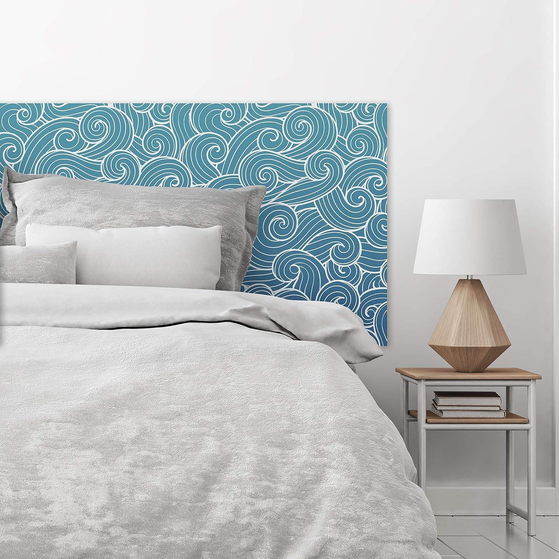 Testiera per Letto in PVC Decorativa Motivo a Scaglie Blu Celeste Acquerello Diverse Misure MEGADECOR Economica