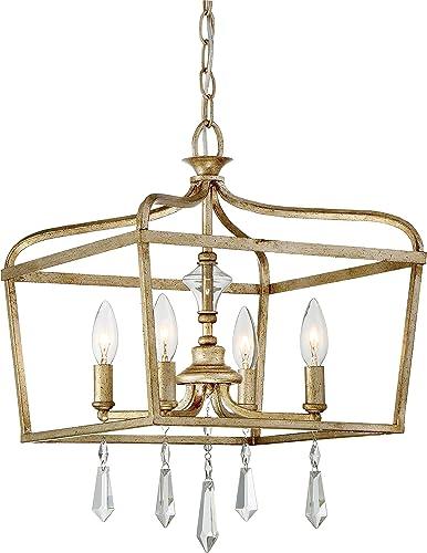 2021 Minka Lavery 4447-582 Laurel Estate Crystal outlet online sale Ceiling Pendant Lantern Chandelier Lighting, 4-Light Fixture 240 Watts, lowest Brio Gold outlet sale