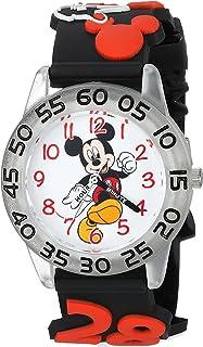 ساعة ديزني ميكي ماوس انالوج كوارتز للاولاد مع حزام بلاستيكي، أسود، 15 سم (WDS000512)