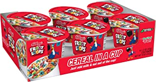 Kellogg's Froot Loops, Breakfast Cereal in a Cup, Low Fat, Bulk Size, 1.5 Ounce (60 Count) (Pack of 10, 9 oz Trays)