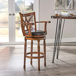Christopher Knight Home Traditional Leather 30.5 Inch Swivel Barstool with Arms, Chocolate Brown